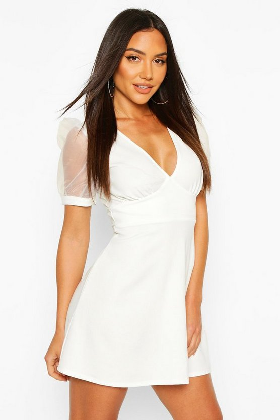 Ivory Deep V Skater Dress With Organza Sleeves