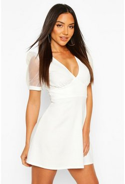 Womens Ivory Deep V Skater Dress With Organza Sleeves