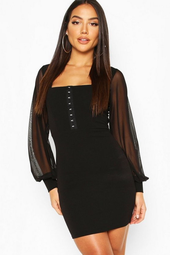 Square Neck Hook & Eye Dress With Mesh Sleeves