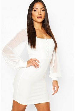 Ivory Square Neck Hook & Eye Dress With Mesh Sleeves