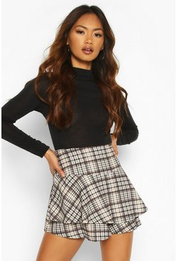 Womens Cream Heritage Check Ruffle Skort