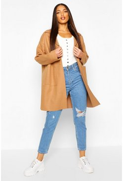 Camel Drop Shoulder Pocket Detail Wool Look Coat