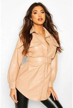Womens Beige Oversized Belted Pu Utility Jacket
