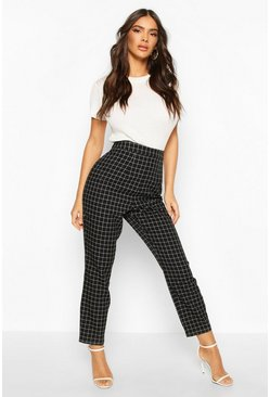 Black Grid Check Tapered Trouser