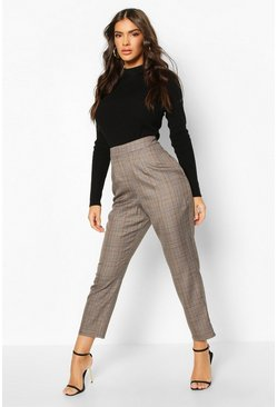 Brown Prince Of Wales Check Tapered Trouser