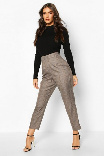 Womens Brown Prince Of Wales Check Tapered Trouser