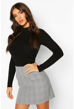 Grey Prince Of Wales Check A-Line Mini Skirt