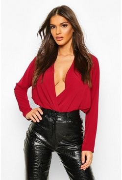 Berry Wrap Over Belted Elasticated Waist Blouse