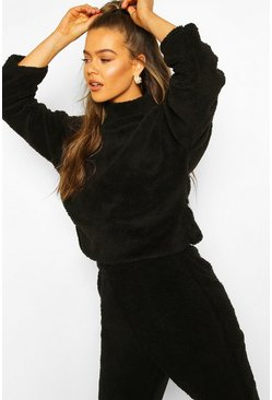 Black Funnel Neck Top With Side Vents In Teddy Fleece
