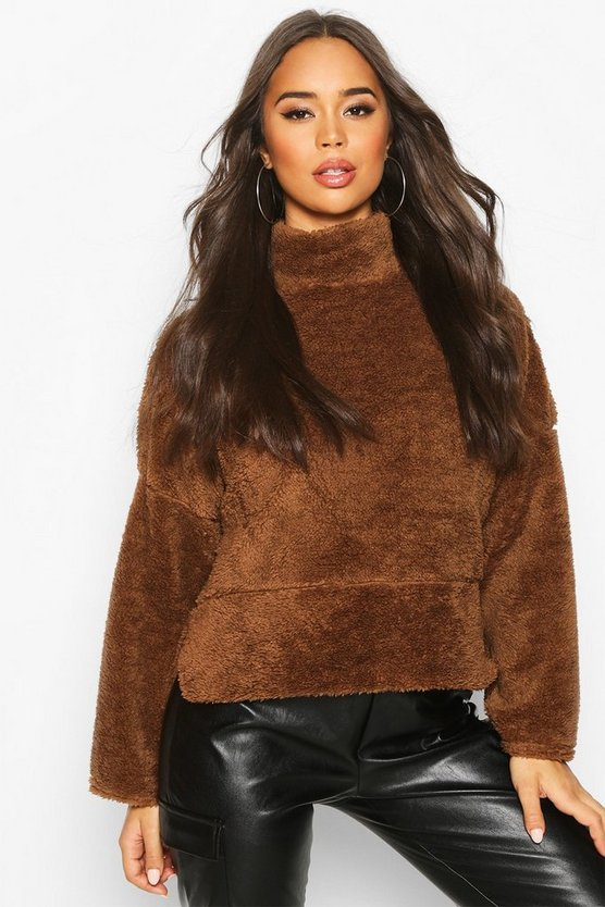 Camel Funnel Neck Top With Side Vents In Teddy Fleece