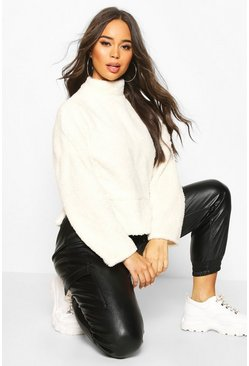 Cream Funnel Neck Top With Side Vents In Teddy Fleece