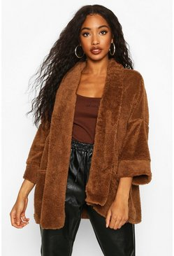 Camel Edge To Edge Shawl Collar Coat In Teddy Fleece
