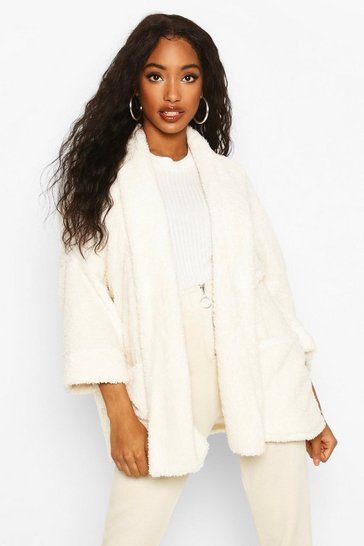 Cream Edge To Edge Shawl Collar Coat In Teddy Fleece