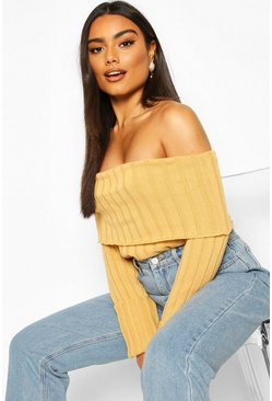 Camel Bardot Rib Knit Sweater