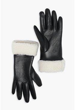 Black PU Glove With Teddy Borg Cuff