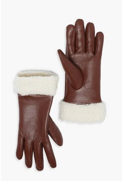 Tan PU Glove With Teddy Borg Cuff