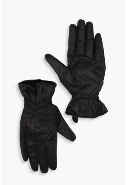 Dam Black Faux Fur Lined Ruche Padded Ski Gloves