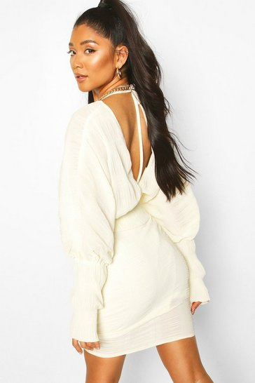 Ivory Chiffon Pleated Open Back Top