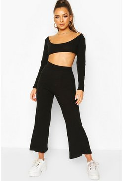 Black Knitted Long Sleeve Crop Top & Culotte Co-ord