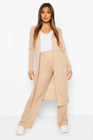 Stone Soft Rib Cardigan & Trouser Co-Ord