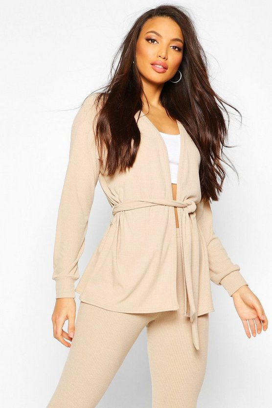 Womens Stone Soft Rib Belted Cardigan And Legging Co-ord