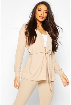Stone Soft Rib Belted Cardigan And Legging Co-ord
