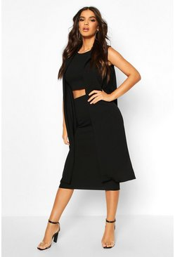 Womens Black 3 Piece Midi Shirt And Duster Co-ord Set