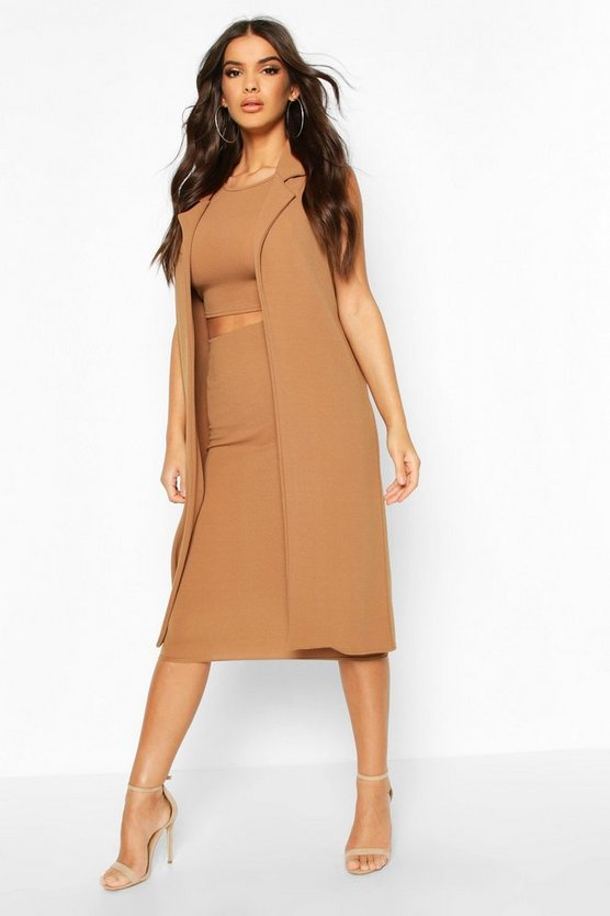 Camel 3 Piece Midi Shirt And Duster Co-ord Set