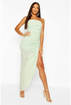 Sage Chiffon Draped Corset Maxi Dress