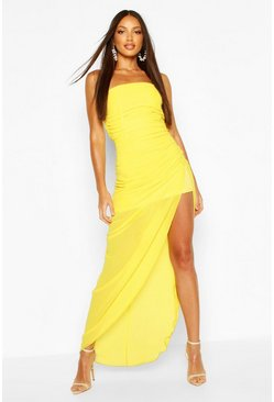 Yellow Chiffon Draped Corset Maxi Dress