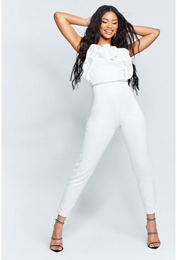 Ivory Recycled Bandeau Jumpsuit with Scrunched Ruffle