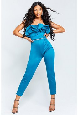 Teal Recycled Bandeau Jumpsuit with Scrunched Ruffle