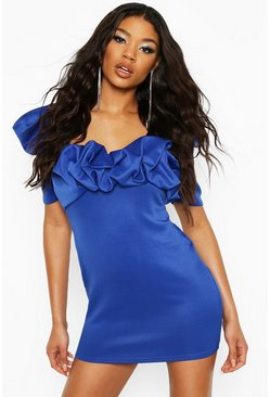 Cobalt Recycled Puff Sleeve Scrunched Mini Dress