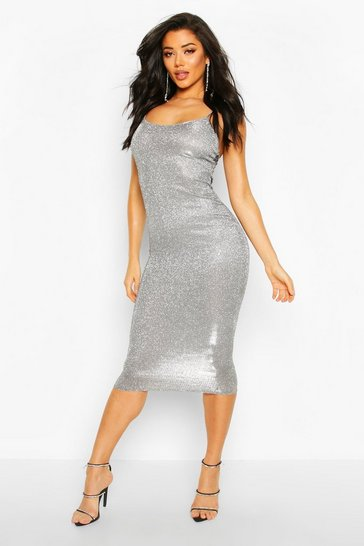 Womens Silver Sparkly Strappy Maxi Dress