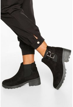 Black Buckle Detail Block Heel Chelsea Boots