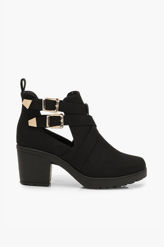 Cutwork Buckle Detail Block Heel Chelsea Boots