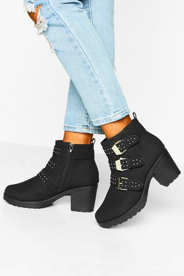 Black Studded 3 Buckle Block Heel Chelsea Boots