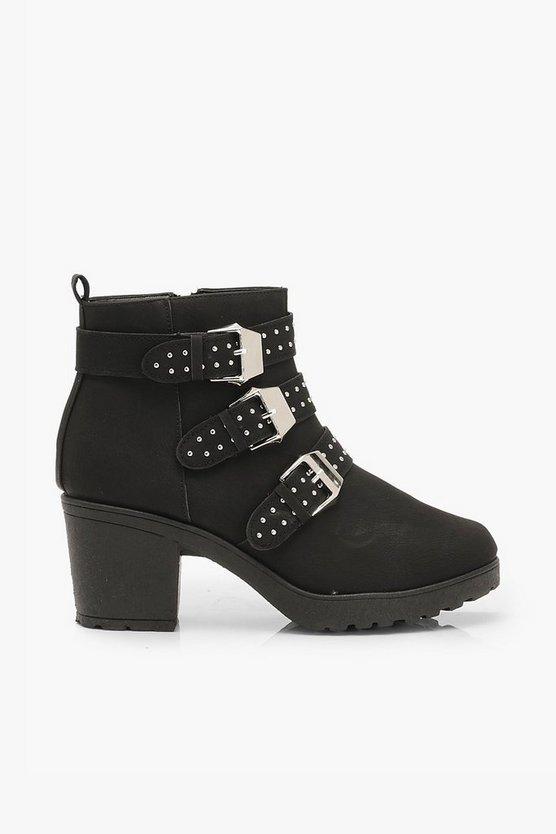 Studded 3 Buckle Block Heel Chelsea Boots