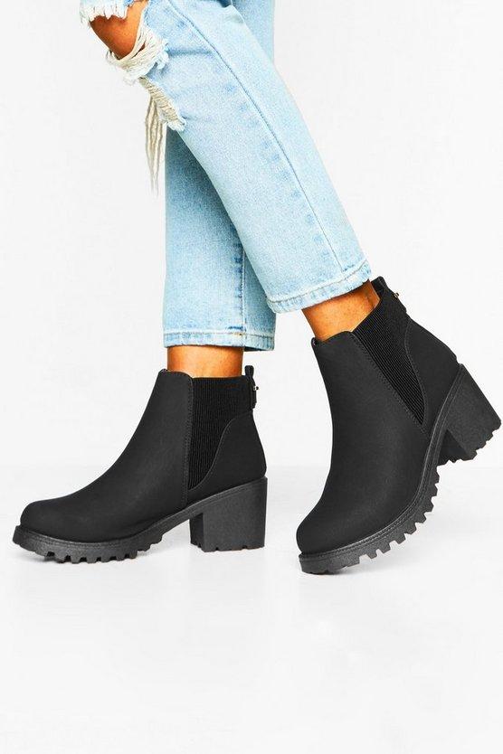 Rib Elastic Chelsea Boots