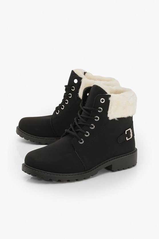 Faux Fur Cuff Lace Up Hiker Boots