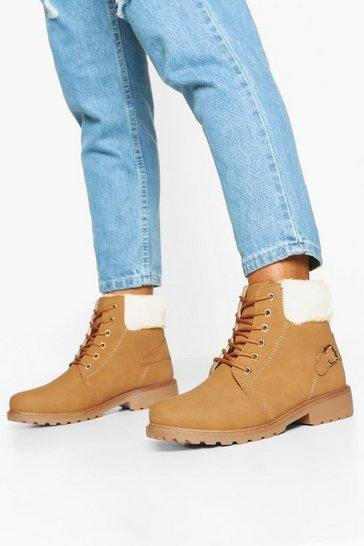 Womens Sand Faux Fur Cuff Lace Up Hiker Boots