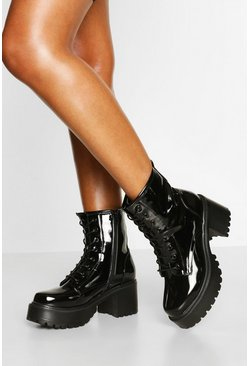 Black Patent Block Heel Lace Up Hiker Boots