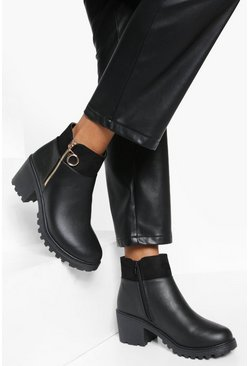 Black O Ring Zip Side Block Heel Chelsea Boots