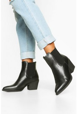 Black Elastic Gusset Pointed Toe Western Boots