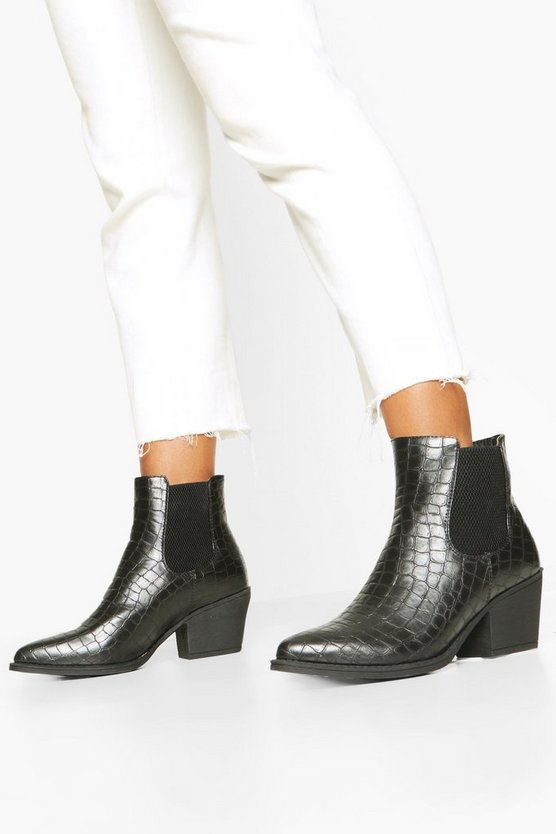 Croc Elastic Gusset Pointed Toe Western Boots