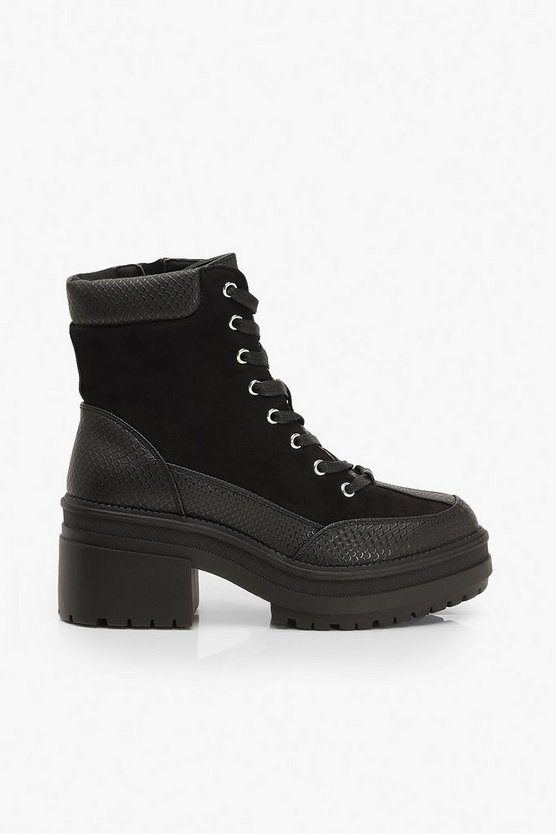 Croc Panel Block Heel Hiker Boots