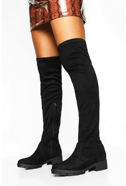 Womens Black Flat Cleated Knee High Boots