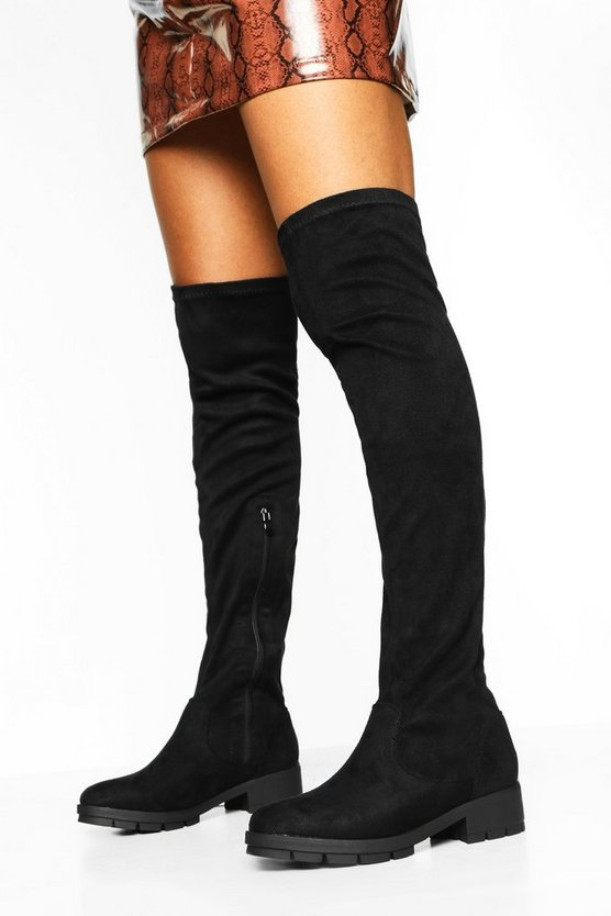 Flat Cleated Knee High Boots
