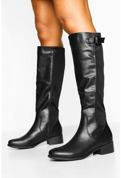 Black Buckle Trim Elastic Knee Boots