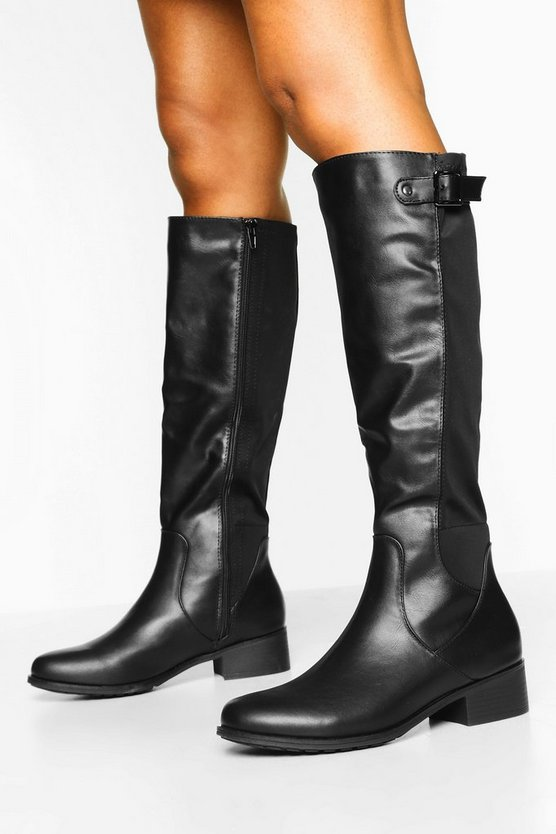 Buckle Trim Elastic Knee Boots